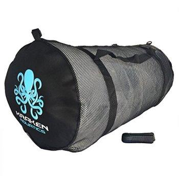 Kraken Aquatics Mesh Duffle Gear Bag with Shoulder Strap | for Scuba Diving, Snorkeling, Swimming, Beach and Sports Equipment | Large
