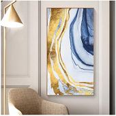 WQFairy Lienzo Pintura Abstracto Color Dorado Carteles e impresión Moderna decoración Cuadros de Arte de Pared para Sala de Estar Dormitorio Pasillo (65x122 cm sin Marco)