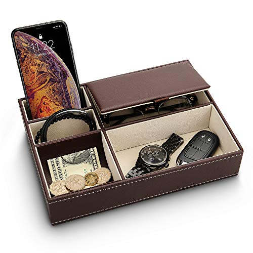 Baoyun Mens Valet Tray Organizer - Leather Nightstand Dresser Top Box with 5 Compartment for Accessories, Wallet,...