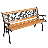 Knocbel 49 Inch Industrial Outdoor Bench Patio Garden Porch Chair Loveseat Weather-Resistant with Wood Slatted Seat, Curved Armrests & Metal Frame, 330lbs Weight Capacity (Bronze and Natural)