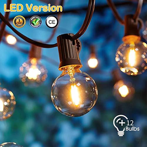 LED Lichterkette Außen,[LED Version] OxyLED LED Garten Lichterkette Terrasse außerhalb der Lichterkette,wasserdichte Innen/Außen-Lichterketten für Terrassenpatio Xmas,7,62m G40 12 Birnen
