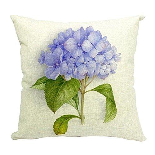 TOOGOO Vintage floreale/fiore di lino decorativo tiro cuscino federa casa divano decorativo (viola...