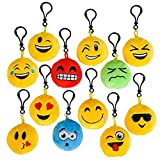 Kicko Plush Toy Emoji Keychain - 24 Pieces with 12 Different Faces - Prize, Party Favor, for Boys and Girls