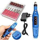 Speed Adjustable Electric Nail Drill Manicure Portable Pen Type Electric Grinding Machine Toe Nail File Tool Grinder Nail Polish Removers (Blue)