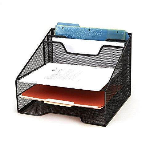 Mind Reader Desk Mesh Organizer Storage, 5 Compartment, Black