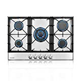 thermomate Gas Cooktop, 30 Inch Built In Gas Rangetop with 5 High Efficiency Burners, NG/LPG Convertible Stainless Steel Gas Stove Top with Thermocouple Protection, 120V AC