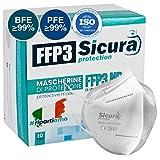 10 FFP3 Masken CE Zertifiziert - Filterklasse BFE ≥99%   PFE ≥99% - Einzeln versiegelte Maske