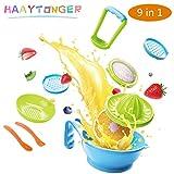 Baby Food Maker Masher 9 in 1 by Haaytonger, Portable Baby Food Feeder Processor Smasher Serve Bowl Spoon Vegetables Fruit Ricer Grinder Tools | Great for Travel, BPA-Free, Dishwasher Safe