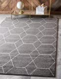 Unique Loom Trellis Frieze Collection Lattice Moroccan Geometric Modern Dark Gray Area Rug (9' 0 x 12' 0)