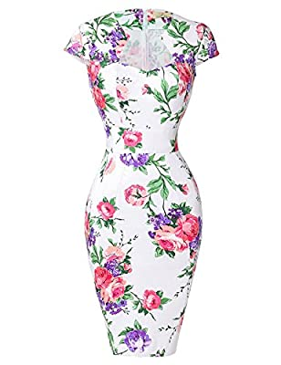 FEATURES: Bodycon Pencil Dress; 50s Style; Cap Sleeves; V-Neck; Back Zipper; Slim Fit NOTE: PRINT DRESS HAS NO STRETCH, SOLID COLOR DRESS HAS STRETCH The slim fit wiggle dress hugs your curves nicely, makes you look sexy and elegant at the same time ...