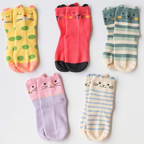 Jewatiby 5 Pairs Toddler Kids Little Girls Socks Cute Animal Cat Gift Soft Cotton Socks