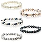 Set Of 5 Genuine Freshwater Cultured 7mm Multicolored Pearl Stretch Bracelets 7.5'
