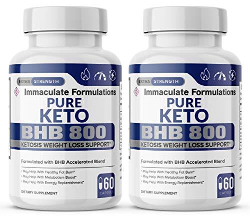 Pure Keto BHB 800mg Diet Pills - Advanced BHB Ketogenic Supplement Exogenous Ketones Ketosis for Men Women 120 Capsules 2 Bottles 1
