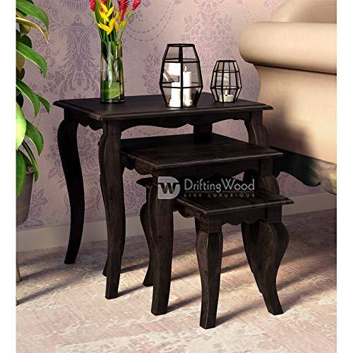 DriftingWood Solid Sheesham Wood Nesting Table for Living Room   Set of 3 Stools   Warm Chestnut Finish