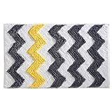 iDesign Chevron Bath Rug, Machine Washable Microfiber Accent Rug for Bathroom, Kitchen, Bedroom, Office, Kid's Room, 34' x 21', Gray and Yellow