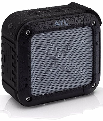 AYL Soundfit Portable Outdoor and Shower Bluetooth 5.0 Speaker, IPX6 Water Resistant, Wireless with 10 Hour Rechargeable Battery Life (Black)