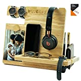 WUTCRFT - Wood Docking Station/Nightstand Organizer for Multiple Devices with Headphone Stand, Smart Watch Charging Slot, Photo Holder, and Accessory Holder, Perfect for Desk Organizer/Gifts for Men