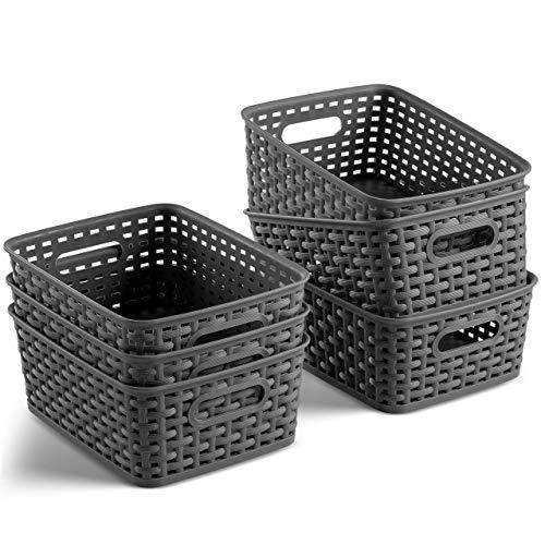 Set of 6 Plastic Storage Baskets - Small Pantry Organizer Basket...
