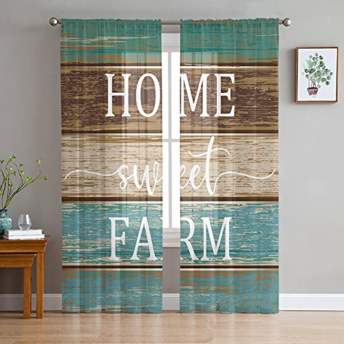 Sheer Curtains 72 inches Long Voile Drapes Grommet Window Treatment Panels Light Glare Filtering for Patio Kitchen Bedroom Living Room, Home Sweet Farm on Rustic Blue Green and Brown Barn Wood