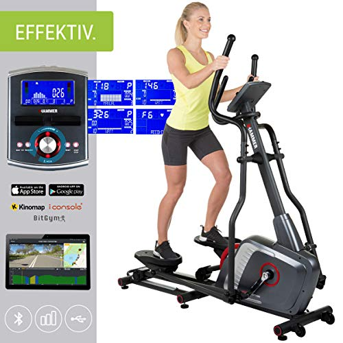 HAMMER Ellipsentrainer Speed-Motion BT, leises Trainingsgerät mit Bluetooth & App-Steuerung, Smartphone- und Tablethalterung, Cardiogerät mit Handpulssensoren, 22 Trainingsprogramme, 163 x 53 x 164 cm
