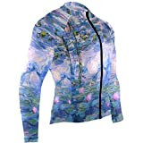 SLHFPX Monet Claude Water Lilies Oil Painting Mens Cycling Jersey Coat Full Sleeve Mountain Bicycle Apparel Outfit