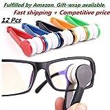 12 Pcs Mini Sun Glasses Eyeglass Microfiber Spectacles Cleaner Soft Brush Cleaning Tool Mini Microfiber Glasses Eyeglasses Cleaner Cleaning Clip (Random Color)