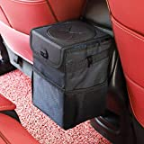 Ryhpez Car Trash Can with Lid - Car Trash Bag Hanging with Storage Pockets Collapsible and Portable...
