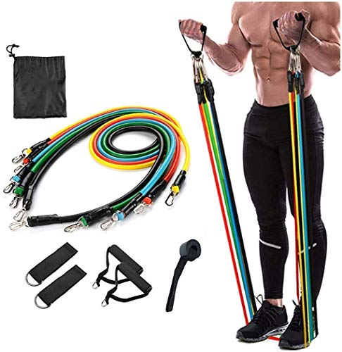 AEXiVE Resistance Bands Set (11 Pcs), Exercise Bands with Handles, Door Anchor, Ankle Straps, Protective Cover, Workout Bands for Physical Therapy, Home Fitness and Stretching Training