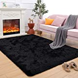 Maxsoft Fuzzy Rugs for Living Room, Black Shag Rugs for Bedroom, 5 x 8 Feet, Fluffy Room Carpets for Girls, Kids, Plush Furry Area Rugs for Nursery, Bedside, Floor