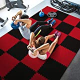 WF Athletic Supply High Density Reversible Premium Interlocking Foam Tiles - Perfect for Martial Arts, MMA, Home Gyms, P90x, Gymnastics, Cardio, and Exercise (1/2' Thick, 109 Square Feet, Black/Red)