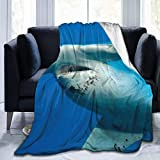 LOVE GIRL Sea Creature Hammerhead Shark Ocean Blue Couverture de Jet Souple...