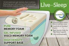 Live & Sleep King Size Mattress, Gel Memory Foam - 10 Inch Mattress - Firm Mattress - Cool Bed in a Box - Balanced Support - CertiPUR Certified - King