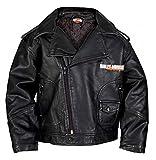 HARLEY-DAVIDSON Little Boys' Upwing Eagle Biker Pleather Jacket Blk 0376074 (3T)