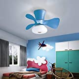 55CM 3 Blade LED Ceiling Fan with Light Blue Ceiling Fan with Light for Kids Girls children Room kindergarten with Remote Contorl, 6 Speeds, 3 Colors Changing