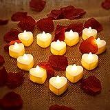 12 Pièces Bougies Chauffe-Plat LED en Forme de Coeur Bougies LED Amour Romantique avec 200 Pièces Pétales de Rose en Soie Pétales de Fleurs Artificielles...