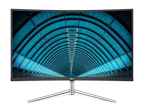 AOC C32V1Q 31.5' Full HD 1920x1080 Monitor, Curved VA Panel, 4ms 75Hz, Frameless, HDMI/DisplayPort/VGA, Flickerfree, Low Blue Mode, VESA, Black