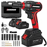 Cordless Impact Wrench, 1/2 Chuck Impact Driver/Drill/Screws with 3200RPM Variable Speed, Torque 258 ft-lbs/350N.m,21V Lithium-Ion 4.0AH Battery Pack and Replacement battery, Safety Lock Design
