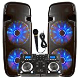 Light up the house! - Dj System - Lighted Powered Dual 15' DJ Speakers -...