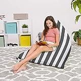 Posh Beanbags Bean Bag Chair, 200L-Large Twist, Canvas Stripes Gray and White