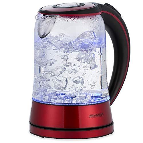 monzana Wasserkocher Edelstahl Teekocher Glas I Glas I LED I BPA frei I 1,7 L I kabellos I 2200W rot/schwarz I Überhitzungsschutz I Wasserstandsanzeige