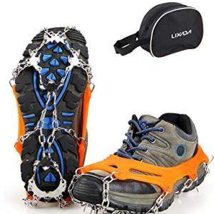 Lixada Crampones 19 Dientes Cubierta de Zapatos Antideslizante para Andar en el Hielo Nieve Deporte Invierno al Aire Libre 5