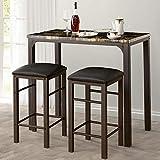 VECELO 3-Pieces High/Pub Table Set with 2 Bar Stools, Black