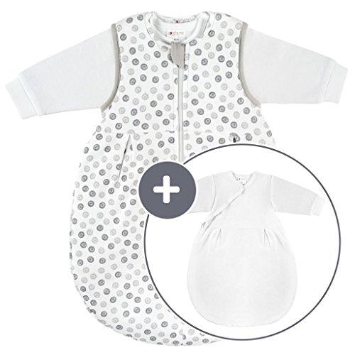 Coconette Ganzjahres Baby-Schlafsack Circle - 2-teilig: Langarm Innensack & gefütterter Außensack für Sommer & Winter, 100% Baumwolle - Größe: 3-6 Monate (62/68)