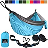 Gold Armour Camping Hammock - USA Brand Single Parachute Hammock (2 Tree Straps 32 Loops/20 ft Included) Lightweight Nylon Portable Adult Kids Best Accessories Gear (Sky Blue/Gray)