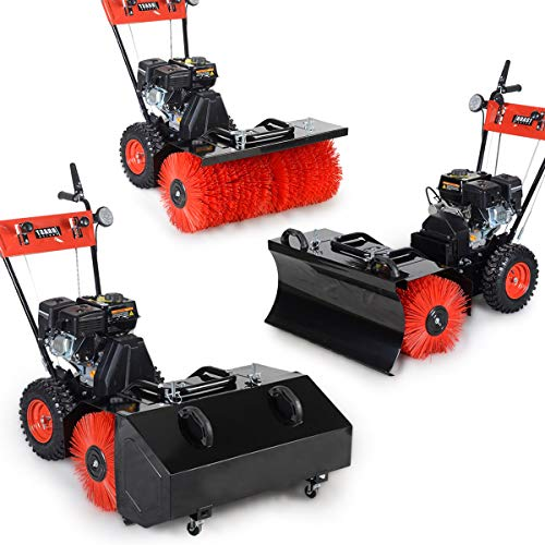 BRAST Benzin Kehrmaschine Laubsammler Schneeschieber 4,8kW(6,5PS) 80cm Breite Elektrostart Schnellwechsel-System 3 in 1 Gerät Schneeräumer