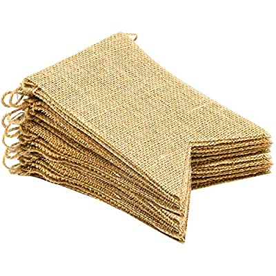 Swallowtail flag size: Appro 5 inches (13 cm)in length, 7 inches(17.5cm) in height, 20 pcs flags are stringed by jute rope,length 14.5 ft Burlap banner material: 100% natural jute, great DIY decoration for wedding, birthday, camping, baby shower, cou...