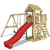 WICKEY Aire de jeux MultiFlyer toit en bois Portique de jeux avec toit en bois pour jardin Tour de jeux avec balançoire et toboggan, mur d'escalade, toboggan rouge