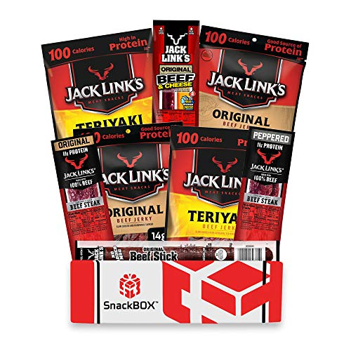 Jack Link's Beef Jerky Care Package   Gift Basket   Snack BOX (8 Items) Great for Fathers Day, Date Night, College, Gift for Guys, Camping, Hunting and Much more!   by SnackBOX