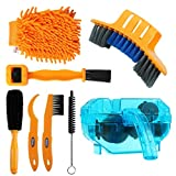 Anndason 8 Pieces Precision Bicycle Cleaning Brush Tool Including The 2020 Latest Bike Chain Scrubber, Suitable for Mountain, Road, City, Hybrid,BMX Bike and Folding Bike (Orange +Blue)