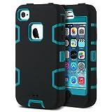 ULAK Coque iPhone 4S, iPhone 4 Coque Housse Étui Hybride 3 en 1 Silicone et PC...
